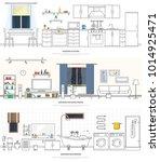 modern interiors of the kitchen ... | Shutterstock .eps vector #1014925471