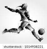female soccer player kicking...   Shutterstock .eps vector #1014938221