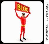 3d penguin holding blog sign... | Shutterstock . vector #1014956557