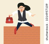 woman in suit jumps over... | Shutterstock .eps vector #1014957109