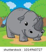 rhinoceros  cute vector | Shutterstock .eps vector #1014960727