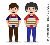 students carrying multiple book ... | Shutterstock .eps vector #1014967279
