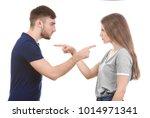 couple arguing on white... | Shutterstock . vector #1014971341