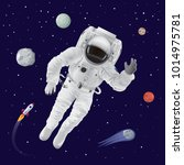 astronaut wearing spacesuit and ... | Shutterstock .eps vector #1014975781