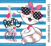 cartoon cat girl smiling... | Shutterstock .eps vector #1014982441
