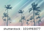 silhouette of tropical palm... | Shutterstock .eps vector #1014983077
