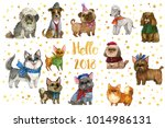 Stock photo the chinese new year collection of the watercolor hand drawing dogs colorful cute dogs 1014986131