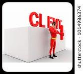 3d superhero  holding letter i... | Shutterstock . vector #1014986374