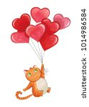 sketch markers cat with... | Shutterstock . vector #1014986584