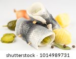 Stock photo rollmops rolled pickled herring fillets 1014989731