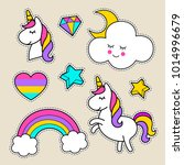 stickers with a unicorn  stars  ... | Shutterstock .eps vector #1014996679