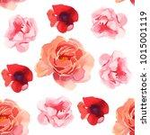 flowers iilustration seamless... | Shutterstock . vector #1015001119
