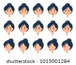 set of different emotions on... | Shutterstock .eps vector #1015001284