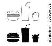 fast food icon silhouette and... | Shutterstock .eps vector #1015009321