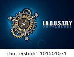 illustration of gear and cog wheel on industrial background - stock vector