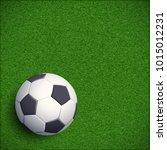 soccer ball on green grass.... | Shutterstock .eps vector #1015012231