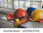 a helmet that sits on your desk ... | Shutterstock . vector #1015015741