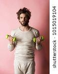 man workout after wake up ... | Shutterstock . vector #1015019104