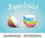 realistic easter egg shell ...   Shutterstock .eps vector #1015022641