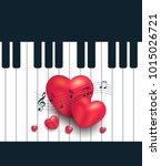 heart piano greeting card music ...   Shutterstock . vector #1015026721