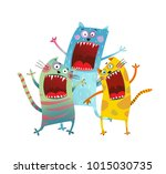 three friends cats singing... | Shutterstock .eps vector #1015030735