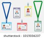 set of employees identification ... | Shutterstock .eps vector #1015036237