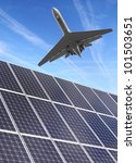 Solar energy panels and airliner. Alternative energy concept. - stock photo