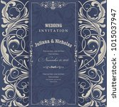 wedding invitation cards ... | Shutterstock .eps vector #1015037947