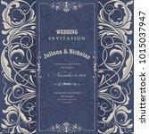 wedding invitation cards ... | Shutterstock .eps vector #1015037947