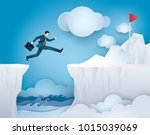 businessman jump over between... | Shutterstock .eps vector #1015039069