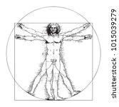 vitruvian man by leonardo da... | Shutterstock .eps vector #1015039279