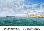 panoramic view at the venetian... | Shutterstock . vector #1015048009