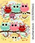 happy family of owls on... | Shutterstock .eps vector #1015050661