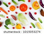mixed fruit and vegetable on...   Shutterstock . vector #1015053274