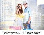 double exposure of young... | Shutterstock . vector #1015055005