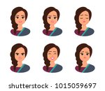 set facial expressions of young ... | Shutterstock .eps vector #1015059697