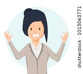 anger. the evil woman expresses ... | Shutterstock .eps vector #1015063771