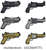 cartoon pistols  handguns and... | Shutterstock .eps vector #1015069771