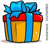 cartoon shiny yellow present... | Shutterstock .eps vector #1015069801