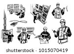 engineer at the control cabinet ... | Shutterstock .eps vector #1015070419