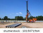 pile driving of hydraulic... | Shutterstock . vector #1015071964