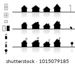 set of flat house   window ... | Shutterstock .eps vector #1015079185