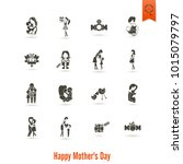 happy mothers day simple flat... | Shutterstock .eps vector #1015079797