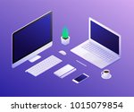 isometric concept of workplace... | Shutterstock .eps vector #1015079854