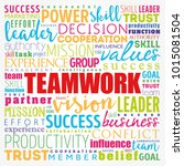 teamwork word cloud collage ... | Shutterstock .eps vector #1015081504
