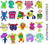 cartoon colorful monsters for... | Shutterstock .eps vector #1015082515