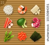 food ingredients for sushi | Shutterstock .eps vector #1015084351