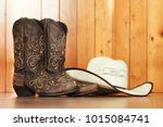 cowgirl embroidered boots and... | Shutterstock . vector #1015084741
