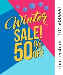 winter sale 50 percent off. ... | Shutterstock .eps vector #1015086661