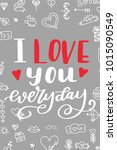 hand drawn poster with love... | Shutterstock .eps vector #1015090549